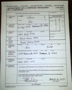 Appointment of a Campaign Treasurer, filed March 10 2014