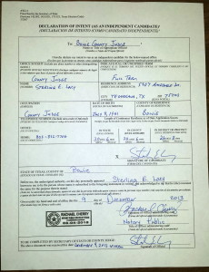 Declaration of Intent to Run as an Independent Candidate, <br>filed December 9 2013