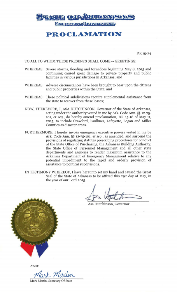 AR Disaster Declaration, May 2015